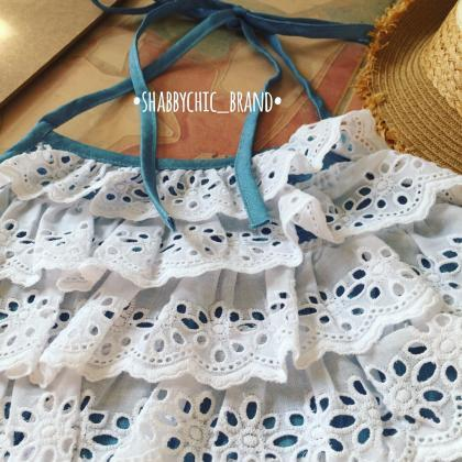 Jeans Denim Cami Crop Top White Lac..