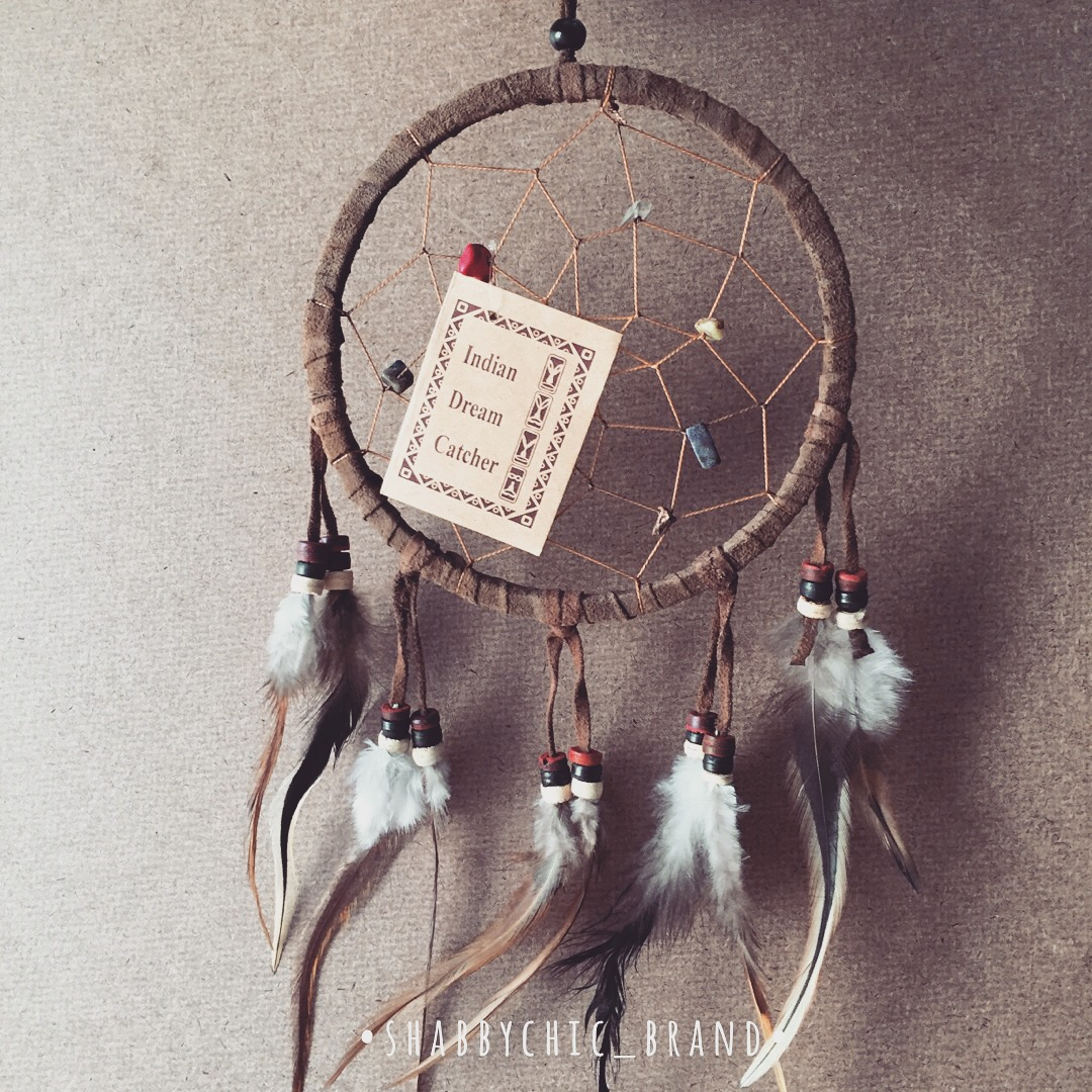Dreamcatcher Brown Leather Home Decal Wall Hanging Boho Bohemian Hippie Style